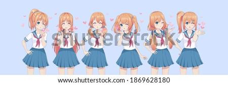 Anime manga schoolgirls in a sailor suit send air kisses. Valentine's day card. Vector illustration