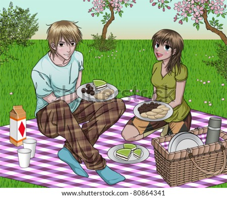 anime style couple enjoying