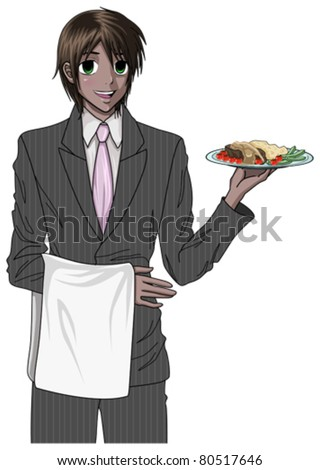 anime style teenager serving