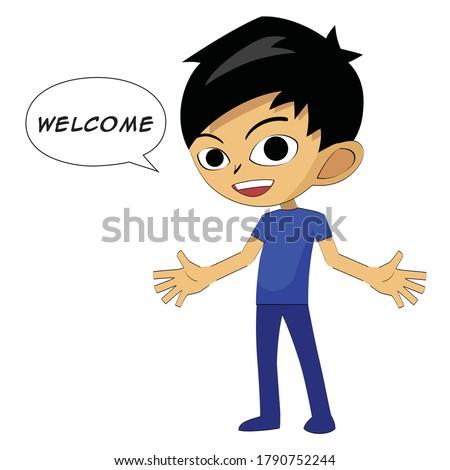 Anime uta say welcome - regards Stock fotó ©