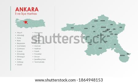 Ankara City and Districts Illustration Vector Map Stok fotoğraf ©