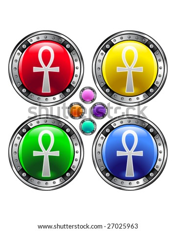 Ankh icon on round vector button
