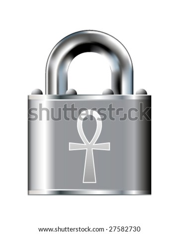 Ankh religious icon on vector padlock button