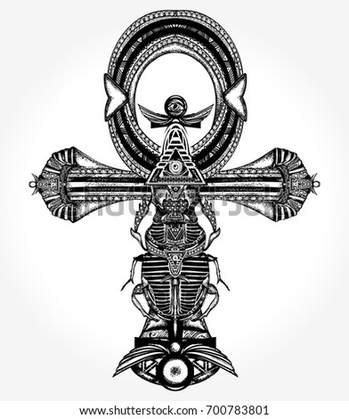 Ankh tattoo and t-shirt design, ancient egyptian cross t-shirt design. Decorative ethnic style of Ancient Egypt. Ankh symbol of eternal life tattoo, key to immortality