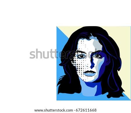 ann hathaway vector portrait