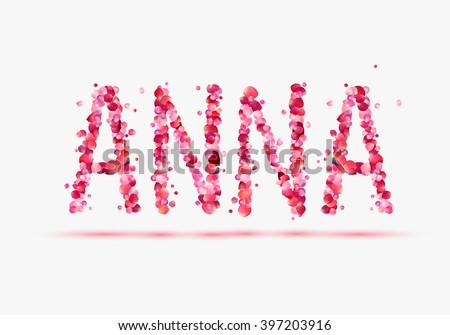 anna vector word written pink