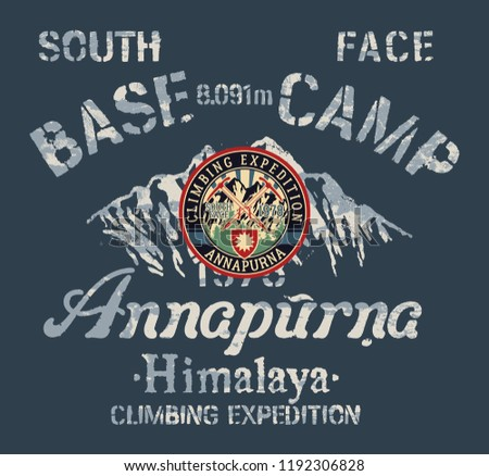 Annapurna Himalaya south face climbing expedition, vector vintage print for boy shirt with embroidery applique patch