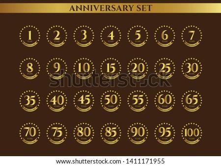 Anniversary badges, badges set, golden badges