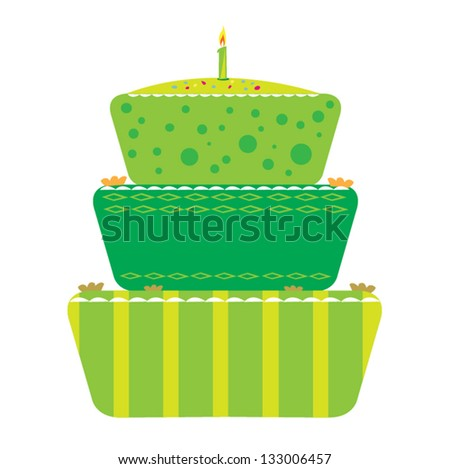 Anniversary Cake Vector Graphic. The candle can be copied to create more candles. Cake colors can be changed.