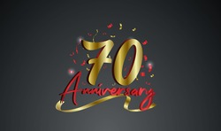 Anniversary celebration background. with the 70th number in gold and with the words golden anniversary celebration.