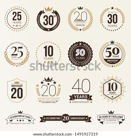 Anniversary celebration logotype collection. From 10th to 50th anniversary logos