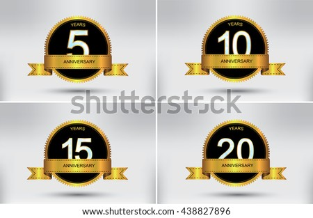 Anniversary design template.5,10,15,20 years anniversary.Vector illustration.