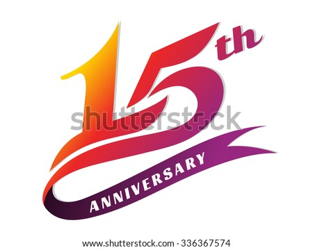 Anniversary emblems 15 anniversary template design stock vector