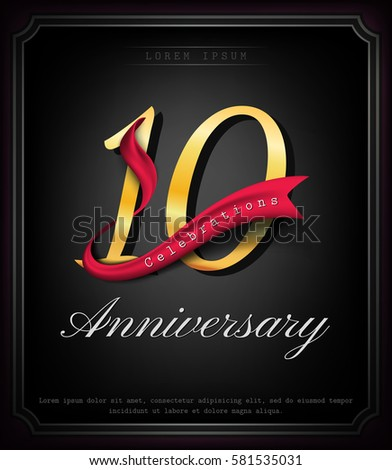 Anniversary emblems 10 anniversary template design #581535031