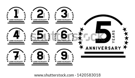 Anniversary emblems set. Years icons. Vector design template.