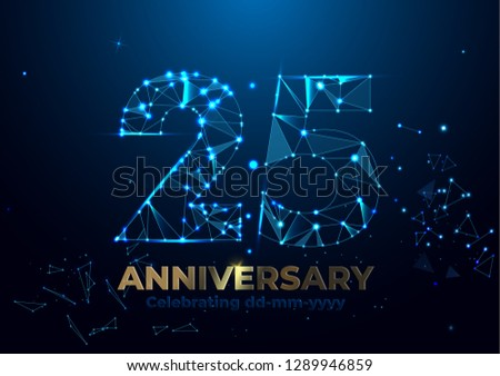 Anniversary 25. Geometric polygonal Anniversary greeting banner. gold 3d numbers. Poster template for Celebrating 25th anniversary event party. Vector illustration