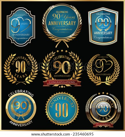 Anniversary gold and blue labels collection, 90 year