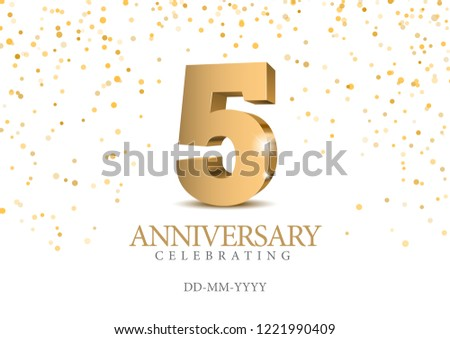 anniversary 5 gold 3d numbers