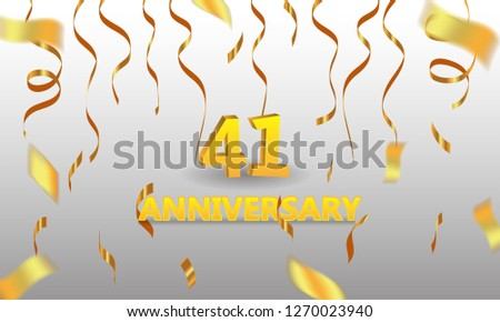 anniversary 41 gold 3d numbers