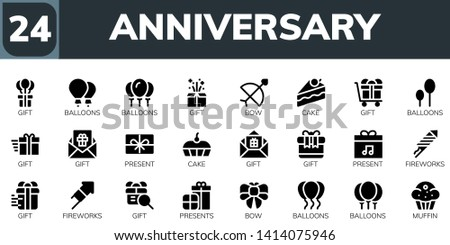 anniversary icon set. 24 filled anniversary icons.  Simple modern icons about  - Gift, Balloons, Bow, Cake, Present, Fireworks, Presents, Muffin