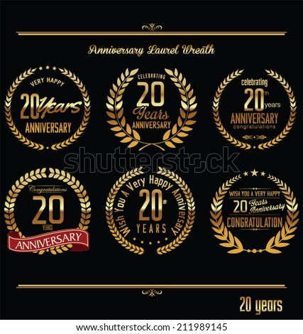 Anniversary laurel wreath retro labels 20 years