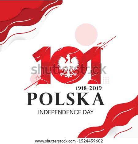 Anniversary Logo of Poland Independence, 101th Poland independence day, happy independence day poland text in polish : poland 1918-2019
