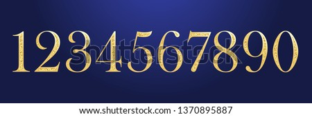 Anniversary numbers set from zero to nine. Isolated abstract golden graphic design template. Decorative glittering years old symbols. Vector illustration. Retro typography, age or discount concept.