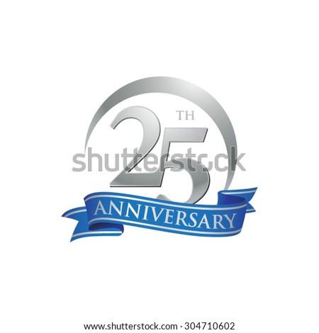 anniversary ring logo blue ribbon 25 Foto stock ©
