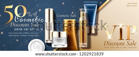 Anniversary sale banner ads with set of skin care products on glitterng background in 3d illustration