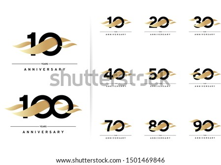 Anniversary set. 10, 20, 30, 40, 50, 60, 70, 80, 90, 100 years. Modern simple design with gold elements. Vector illustration isolated on white background