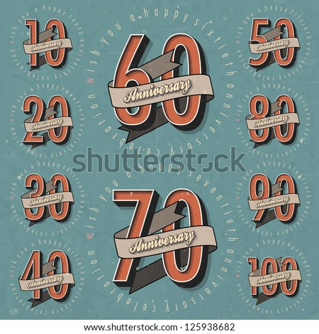 Anniversary sign collection and cards design in retro style Template of anniversary jubilee or birthday card with number editable Vintage vector typography