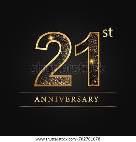 anniversary,21 years celebration logotype. Number star luxury style logo on black background.