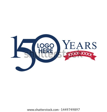 Anniversary 150 years old celebrating logo, Birthday Greetings one hundred fifty celebrates, 100 years old celebrating classic logo, Simple traditional digits of ages 15th, 50th, 10th - Illustration