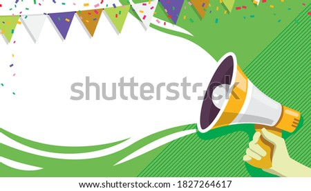 Announce banner. Welcome, announce, promotion, invitation grand opening banner or poster illustration. Vector hand holding megaphone or loud speaker. Copy space for text, flag garland decoration