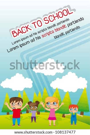 announcement back to school with children. vector illustration