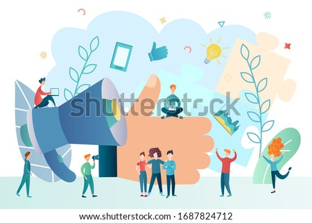 announcement of victory , gratitude, hand with raised finger, approval, joy of the team, successful startup, advertising through social media concept vector illustration Photo stock ©