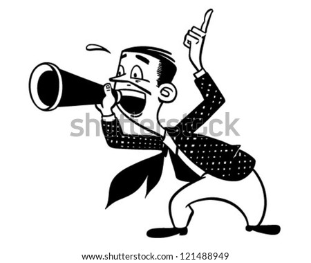 Announcer With Megaphone - Retro Clipart Illustration