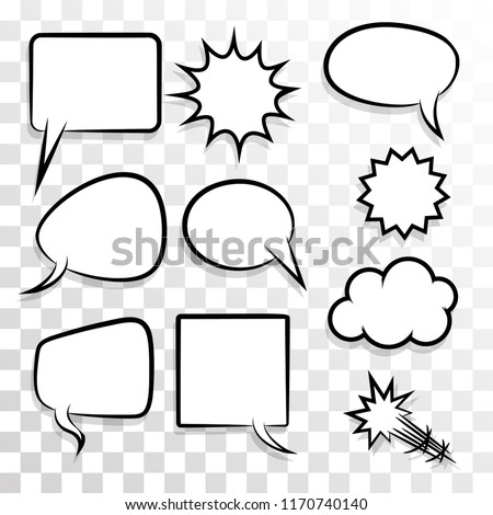 Announces sketch idea conversation sketch explosion. Comic text speech bubble dot transparent background. Set blank template pop art style. Dialog empty cloud, cartoon box.