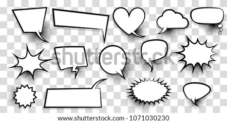 Announces sketch idea conversation sketch explosion. Comic text speech bubble halftone dot transparent background. Big set blank template pop art style. Comics book dialog empty cloud, cartoon box.