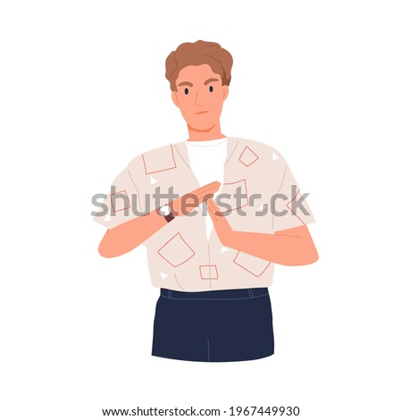 Annoyed man showing pause sign or break time signal with hands. Non-verbal communication. Person indicating timeout and deadline. Colored flat vector illustration isolated on white background Stock photo ©