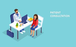 Annual appointment and healthcare concept. Isometric vector of a doctor consulting a female patient in clinic office.