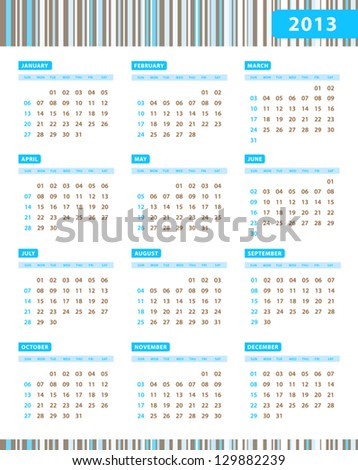 Annual Calendar for 2013 Year with blue stripes texture