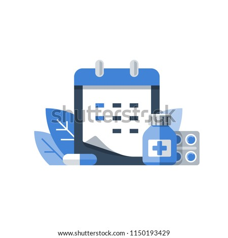 Annual medical exam, regular health check up, medication course, calendar period, preventive examination appointment, medical services, vector icon, flat illustration