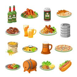 Annual oktoberfest festival traditional food with sausage and beer barrel flat icons collection abstract isolated vector illustration