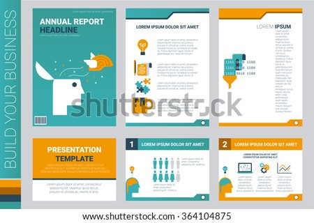 Annual report book cover and presentation template with flat design elements, ideal for company information or infographic report