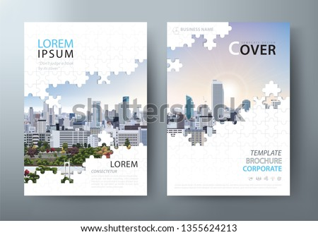Annual report brochure, flyer design, Leaflet cover presentation abstract flat background, book cover templates, Jigsaw puzzle image.