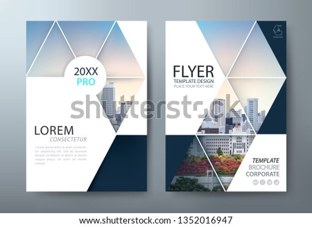 Annual report brochure flyer design, Leaflet presentation, book cover templates, layout in A4 size. Day and night image. vector.