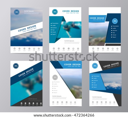Annual report brochure flyer design template vector, Set of leaflet cover presentation sea travel nature landscape blurred background, layout in A4 size