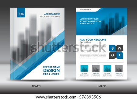 Annual report brochure flyer template, Blue cover design, business flyer template, book, magazine ads, vector illustration