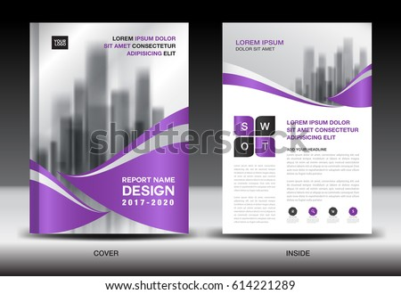 Annual report brochure flyer template, Purple cover design, business flyer template, book, newspaper, magazine ads, booklet,catalog